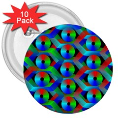 Bee Hive Color Disks 3  Buttons (10 Pack)