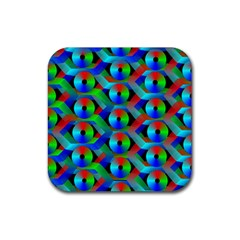 Bee Hive Color Disks Rubber Square Coaster (4 Pack)