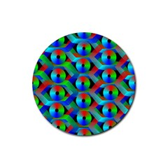 Bee Hive Color Disks Rubber Coaster (round)