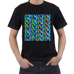 Bee Hive Color Disks Men s T Shirt (black) (two Sided)