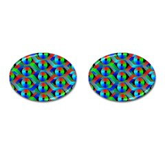 Bee Hive Color Disks Cufflinks (Oval)