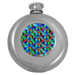 Bee Hive Color Disks Round Hip Flask (5 oz)