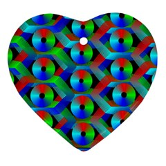 Bee Hive Color Disks Heart Ornament (two Sides)