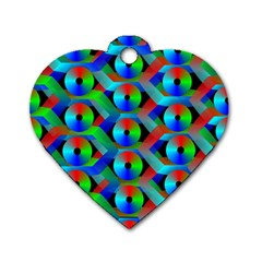 Bee Hive Color Disks Dog Tag Heart (two Sides)