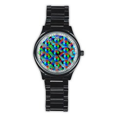 Bee Hive Color Disks Stainless Steel Round Watch