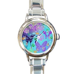 Butterfly Vector Background Round Italian Charm Watch