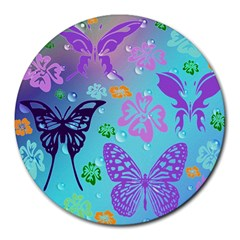 Butterfly Vector Background Round Mousepads