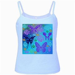 Butterfly Vector Background Baby Blue Spaghetti Tank