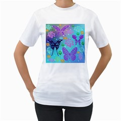 Butterfly Vector Background Women s T-Shirt (White) (Two Sided)