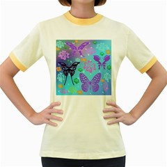Butterfly Vector Background Women s Fitted Ringer T Shirts
