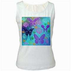 Butterfly Vector Background Women s White Tank Top