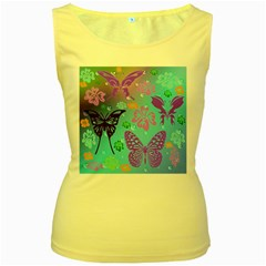 Butterfly Vector Background Women s Yellow Tank Top