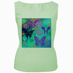 Butterfly Vector Background Women s Green Tank Top