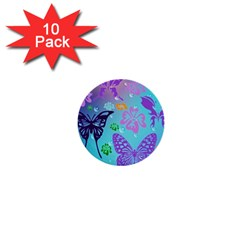 Butterfly Vector Background 1  Mini Buttons (10 Pack)