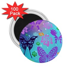 Butterfly Vector Background 2 25  Magnets (100 Pack)