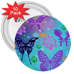 Butterfly Vector Background 3  Buttons (10 pack)