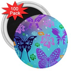 Butterfly Vector Background 3  Magnets (100 pack)