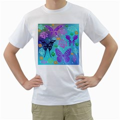 Butterfly Vector Background Men s T Shirt (white) (two Sided)