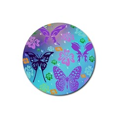 Butterfly Vector Background Rubber Coaster (round)