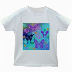 Butterfly Vector Background Kids White T-Shirts