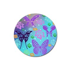 Butterfly Vector Background Magnet 3  (round)