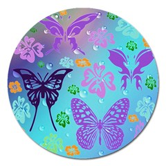 Butterfly Vector Background Magnet 5  (round)