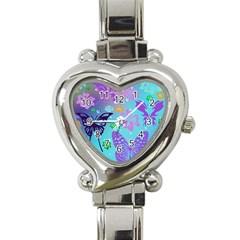 Butterfly Vector Background Heart Italian Charm Watch