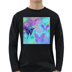 Butterfly Vector Background Long Sleeve Dark T Shirts