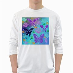 Butterfly Vector Background White Long Sleeve T Shirts