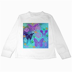 Butterfly Vector Background Kids Long Sleeve T Shirts