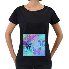 Butterfly Vector Background Women s Loose Fit T Shirt (black)