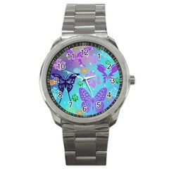 Butterfly Vector Background Sport Metal Watch