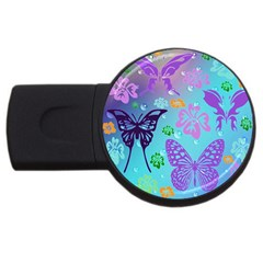 Butterfly Vector Background Usb Flash Drive Round (4 Gb)