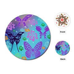 Butterfly Vector Background Playing Cards (round)