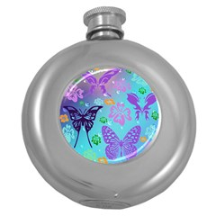 Butterfly Vector Background Round Hip Flask (5 Oz)