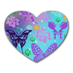Butterfly Vector Background Heart Mousepads