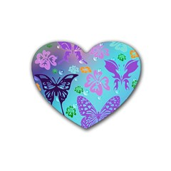 Butterfly Vector Background Rubber Coaster (Heart)