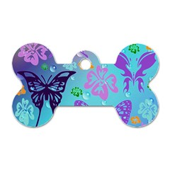 Butterfly Vector Background Dog Tag Bone (two Sides)
