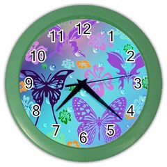 Butterfly Vector Background Color Wall Clocks