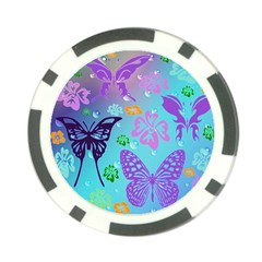 Butterfly Vector Background Poker Chip Card Guard