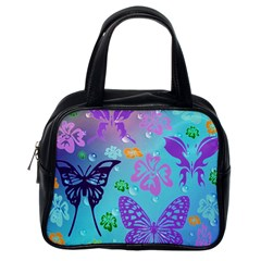 Butterfly Vector Background Classic Handbags (One Side)