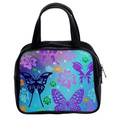 Butterfly Vector Background Classic Handbags (2 Sides)