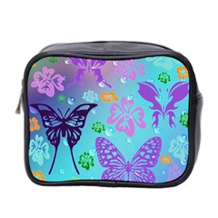 Butterfly Vector Background Mini Toiletries Bag 2 Side
