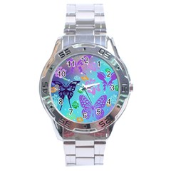 Butterfly Vector Background Stainless Steel Analogue Watch