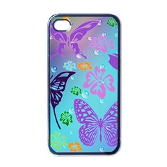 Butterfly Vector Background Apple iPhone 4 Case (Black)