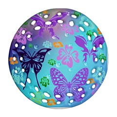 Butterfly Vector Background Round Filigree Ornament (two Sides)