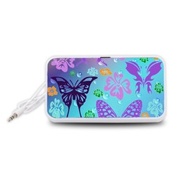 Butterfly Vector Background Portable Speaker (white)