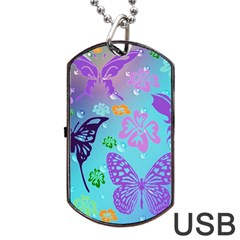 Butterfly Vector Background Dog Tag Usb Flash (one Side)