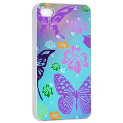 Butterfly Vector Background Apple Iphone 4/4s Seamless Case (white)