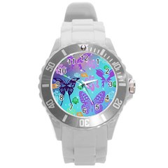Butterfly Vector Background Round Plastic Sport Watch (l)
